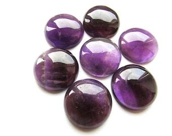 Natural Purple Amethyst Cabochon 20mm Round Gemstone Cabochon Purple Stone Cabochon Amethyst Flat Back Supplies 1 pcs