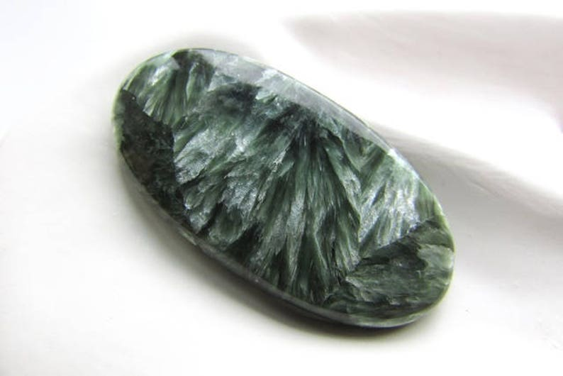 Natural Seraphinite Cabochon 37 x 19 mm Green Seraphinite Oval Stone Cabochon Natural Gemstone Flat back Jewelry Supplies 1