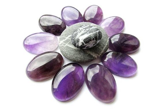 Purple Amethyst beads gemstone,Natural Amethyst Cabochon 10x8mm to 13x8mm Oval shape 18pcs Smooth Plain Vertical Top Drill Handmade Gemstone