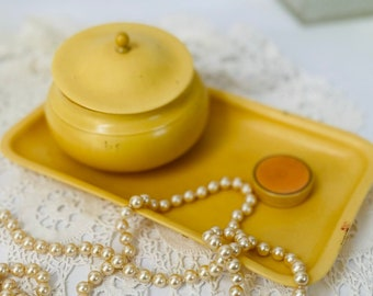 Vanity set celluloid box with lid tray vintage shabby chic mid century