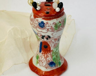 Hat pin holder stand vase container vintage Asian decor