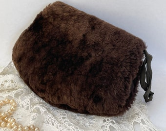 Fur muff hand warmer brown faux fur small child size  vintage 60s 70s