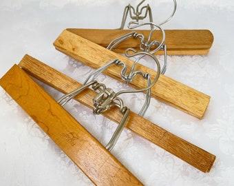 wood hangers vintage wooden clamp display hanger retro mod set of four