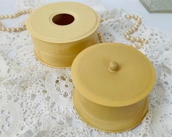 celluloid box containers vanity set vintage shabby chic mid century