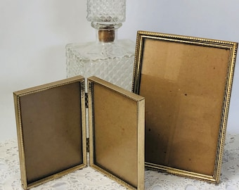 Metal frames vintage hinged table top antique gold 3 by 5  5 by 7 pair set of two