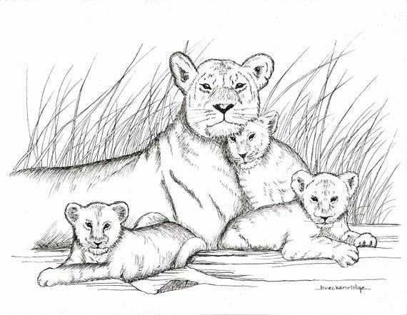 Mère Et Bébé Lions Dessin Imprimé Etsy