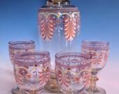Antique Bohemian Fritz Heckert Lobmeyr Moser Hand Blown Enamel Art Glass Decanter Liquor Decanter Cordial Set