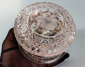 Antique Early American Brilliant Cut Glass Powder Trinket Dresser Box