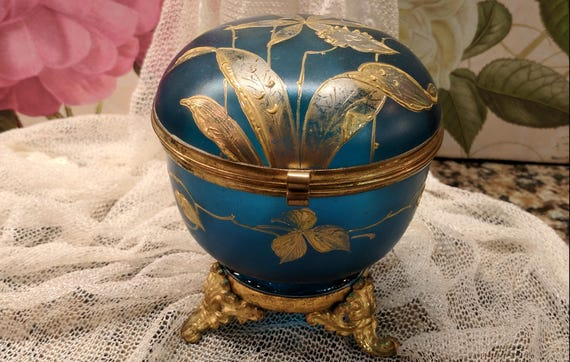 Antique Old Bohemian Hand Painted Lily Flower Enamelled Cobalt Moser Glass  Footed Jewelry Trinket Casket Box