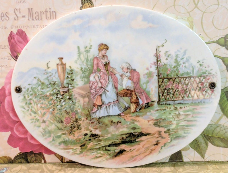 Antique Victorian Porcelain Plaque Picture Transferware Painting French Courting Scene French Lovers After Fragonard Limoges Style