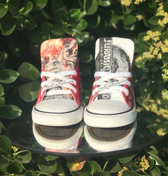 59e7f1ed89ee Custom Baby  Kids Low Top Jurassic World Inspired Converse