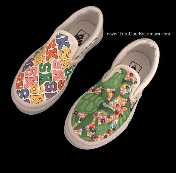 Custom Baby Kids Slip on Pics & Pearls Vans