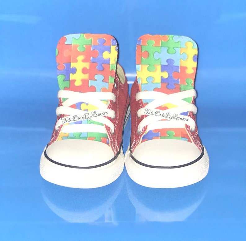 98ba91536a2e49 Custom Baby  Kids Low Top Autism Awareness Inspired Converse