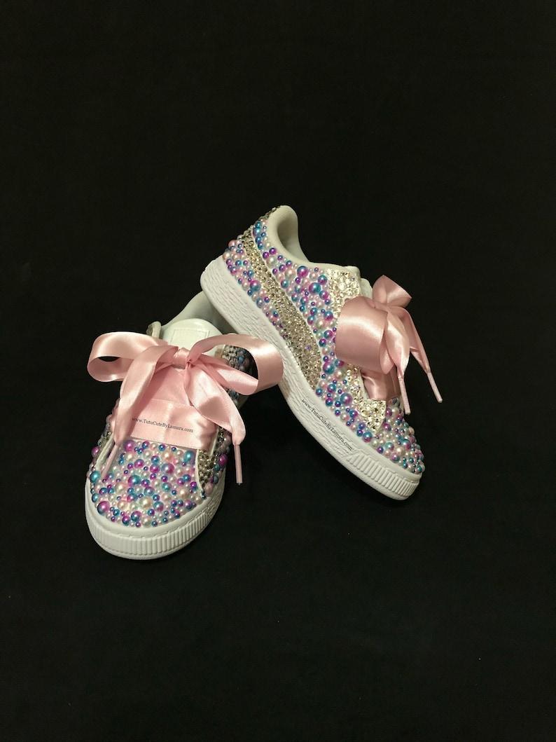 Custom Baby Kids High Top Pearl Chucks with Crystals