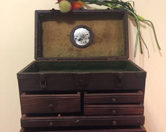 ANTIQUE MACHINIST CHEST with Mirror, Vintage Machinist Tool Box, Wooden Tool Chest, Father's Day, Jewelry Box, Tackle Box at Ageless Alchemy