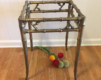 METAL FAUX BAMBOO GOLd Table, Faux Bamboo Nightstand, Faux Bamboo End Table, Chinoiserie, Regency, Asian Decor at Ageless Alchemy