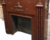 CHINOISERIE FIREPLACE MANTEL ZENiTH Radio 1930 s 40 s, Quite Unusual Asian Mantel with Pagoda and Dragon Etc at Ageless Alchemy
