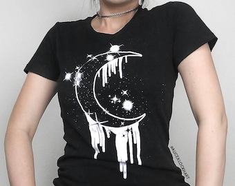 DRIPPY MOON Women's T Shirt, Super Soft, Screen Printed Tee, Short sleeve fitted tee, witchy, occult, goth, KadabraCult