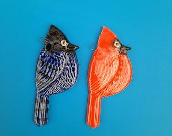 Cardinal of Steller Jay, Handmade Ornament