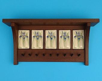 Wild Iris Key Rack and Shelf, Arts and Crafts, Mission Style, Heirloom, Wedding Gift