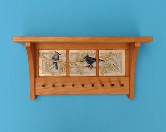Blue Jay Key Rack and Shelf, Arts and Crafts, Mission Style, Heirloom, Wedding Gift