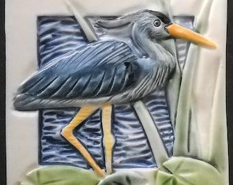 """Great Blue Heron,Arts and Crafts Mission Style Tile, 4"""", handmade, porcelain, bathroom, backsplash, display"""