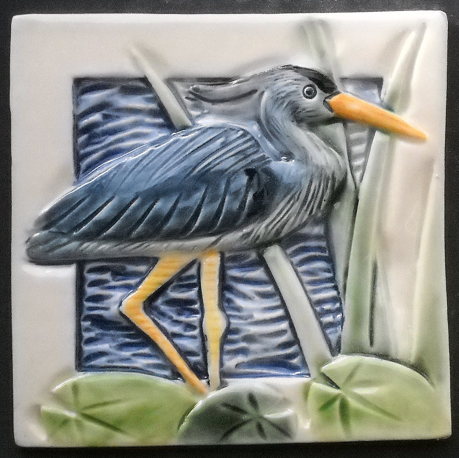 Great Blue Heron,Arts and Crafts Mission Style Tile | Etsy - photo#18