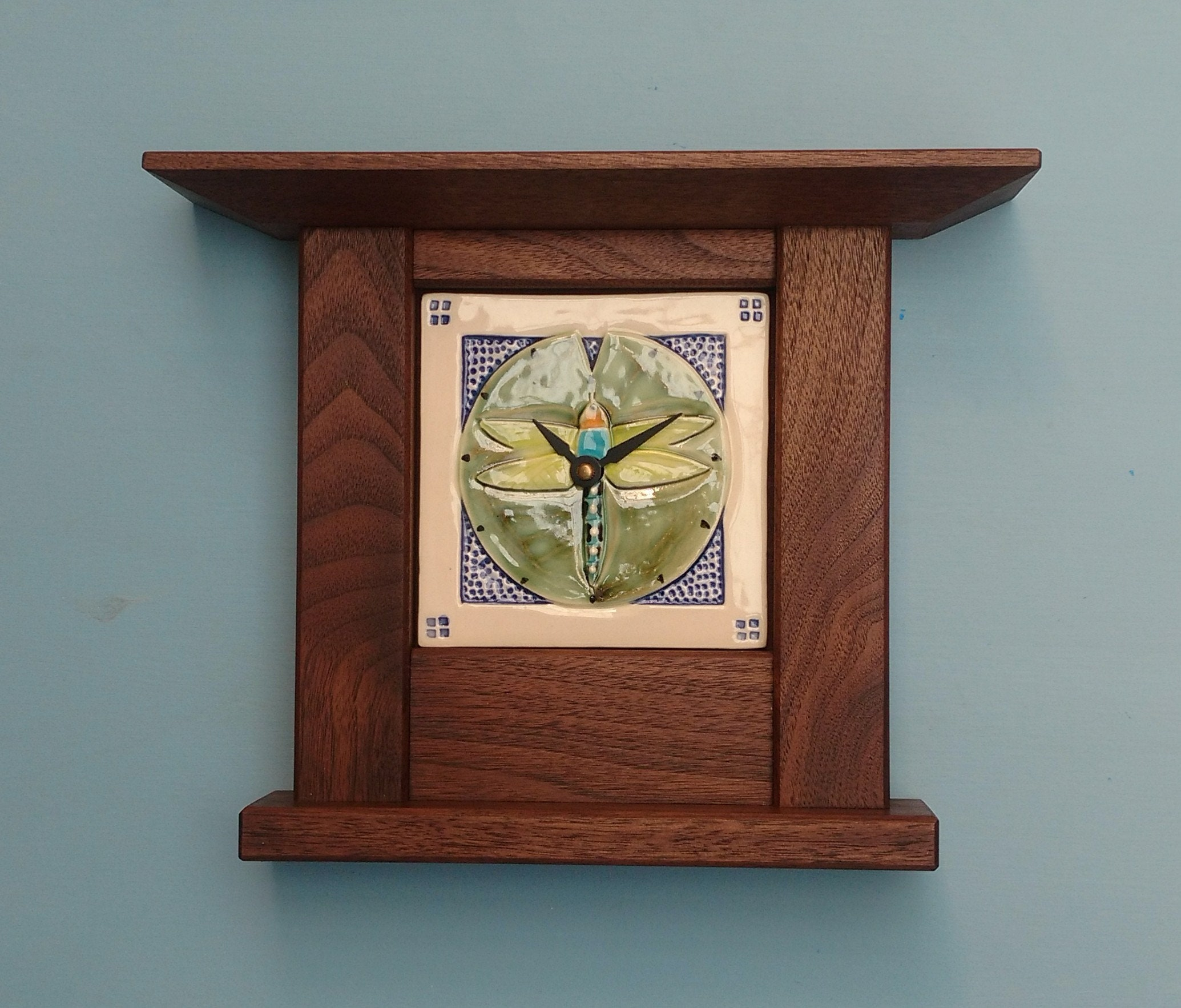 Arts and Crafts Mission Style Hand made Clock. Dragonfly ... - photo#34