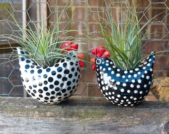Free Range Black and White Chickens, Medium size Chicken Planters, Air Plants, Succulents, Farm Table Decor