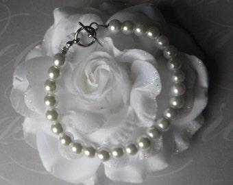 Pure White Glass Pearl Bracelet Set