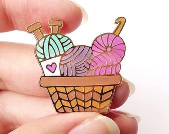 Yarn Basket Enamel Pin - Crochet - Knit -  Craft - Accessory - Decor -Lapel Pin - Cloisonne Pin - Hard Enamel - Brooch