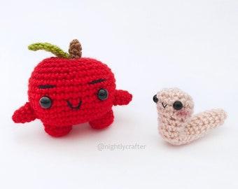 Amigurumi Crochet Pattern - Juanito the Little Apple & Gus the Worm - PDF Pattern