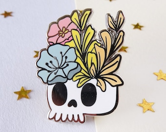 Skull and Flowers - Hard Enamel Pin- Calaca - Accessory - Decor - Brooch