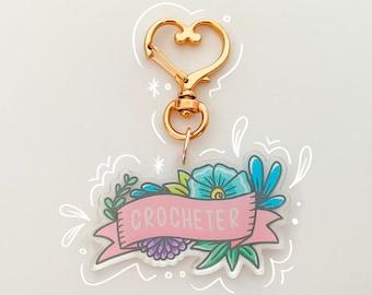 Crocheter Acrylic Keychain with Heart Clasp - Crocheter Gift - Acrylic Charm - Crochet