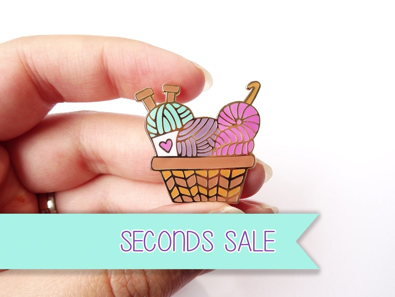 SECONDS SALE Yarn Basket Enamel Pin Crochet Knit Craft Accessory Decor Lapel Pin Cloisonne Pin Hard Enamel Brooch