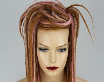 Ginger & Pink Synthetic Dreads Falls, 20 inches Long.