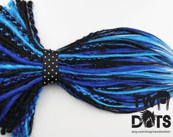 Black & Blue Mix Synthetic Dreads. DE / SE Dreads, Various Quantities, 20 Inches Plus or Less.