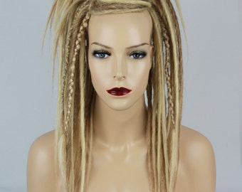 Mix Blonde Synthetic Dread Falls With Criss-Crossed, 20 Inches.