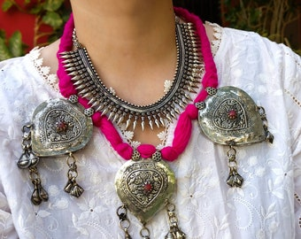 Antique Large Afghan necklace- Pink and silver kuchi necklace- Statement necklace- Tribal boho necklace- Silver statement necklace