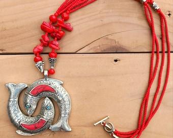 Coral Pendant- Pendant necklace- Beaded necklace- Silver coral necklace- Afghan pendant- boho necklace- Chain pendants- Handmade necklace