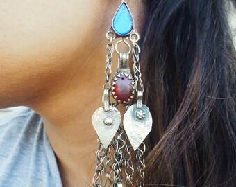 Déclaration Collier Tour de Cou Boucle d/'oreille rétro Vintage Gypsy Kuchi Boho Fashion Jewelry