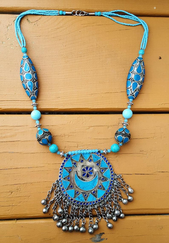 Silver Necklace,Boho Necklace,Ethnic Necklace,Indian Necklace,Gypsy Chic Necklace,Ethnic Style