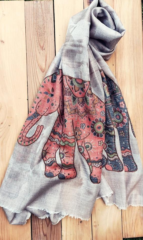 Elephant Scarf- Cashmere Wrap- Cashemere shawl-Cas