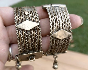 Gold cuff bracelet- Tribal one of a kind VINTAGE Bracelet- Boho cuff- Stone bracelet-  Nomad Afghan Cuff Bracelet.Gold Cuff- silver Bracelet