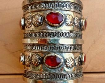 FREE Shipping Old Turkmen Tekke Ornate Tier Cuff- Rose Gold Cuff bracelet- Vintage Beaded Cuff- Tribal Jewelry- Afghan jewelry- kuchi cuff