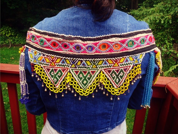 Afghan tribal vintage Belt- Embroider Demin Jacket