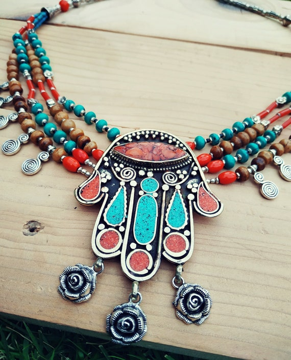 Hamsa necklace- Turquoise statement necklace- Tibe