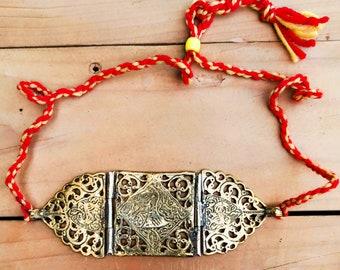 Gold choker necklace- Custom made bohemian necklace- One of a kind ethnic Pakistani necklace- Pakistani jewelry- Tribal statement necklace