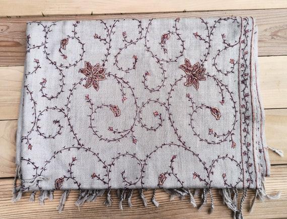 Embroidered Cashmere Shawl- 100% Cashmere- Cashmer