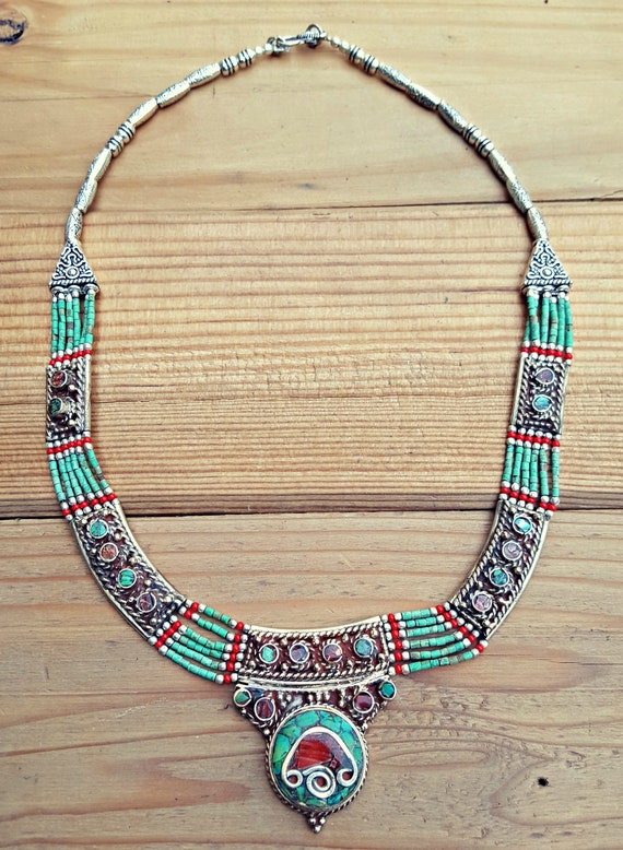 Green turquoise statement necklace- Tibetan Neckla